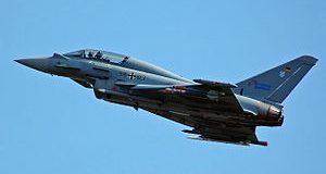A Német Légierő (Luftwaffe) egy kétüléses Eurofighter Typhoon harci repülőgépe