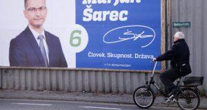 Ljubljana, 2017. október 18. Marjan Sarec független jelölt választási plakátja Ljubljanában 2017. október 18-án. Szlovéniában október 22-én rendezik az elnökválasztás első fordulóját. (MTI/EPA/Igor Kupljenik)