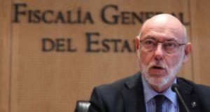 Madrid, 2017. október 30. José Manuel Maza spanyol állami főügyész sajtótájékoztatót tart Madridban 2017. október 30-án. (MTI/EPA/Ballesteros)