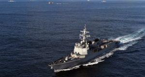 Egy dél-koreai Aegis rombolóhajó, a  DDG-991-es egy dél-koreai-amerikai hadgyakorlaton 2017. november 12-én.   EPA/SOUTH KOREA DEFENSE MINISTRY
