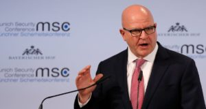 epa06536257 Herbert Raymond McMaster, National Security Advisor to the US President, speaks during the 54th Munich Security Conference (MSC), in Munich, Germany, 17 February 2018. In their annual meeting, politicians and various experts and guests from around the world discuss global security issues from 16 to 18 February.  EPA/RONALD WITTEK